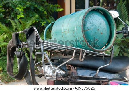 Gas tank on motorcycle.