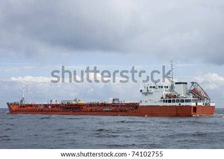Gas Tanker in Baltic Sea - stock photo