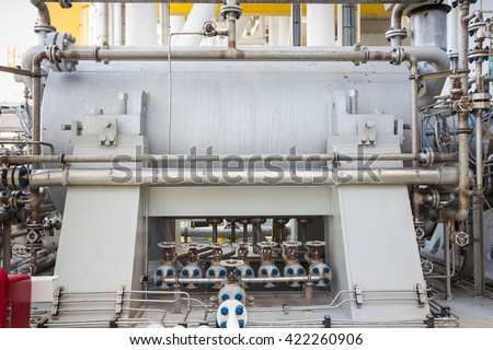 Gas turbine compressor bundle for compress gas to high pressure for sent gas to onshore refinery plant   - stock photo