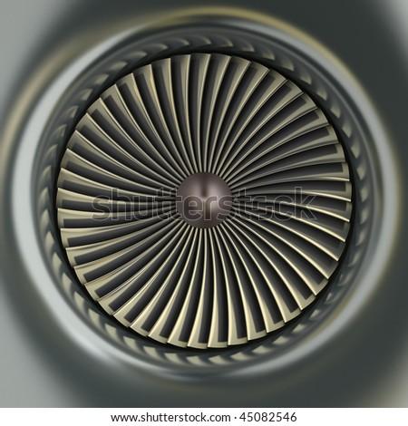 Gas Turbine Jet Engine - stock photo