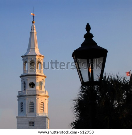 Gaslights and church steeples typify Charleston - stock photo
