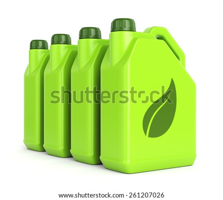 Gasoline jerrycans with leaf icon isolated on white background. Green energy and bio fuel concept. - stock photo