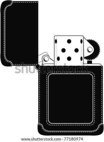 Gasoline lighter in stylish black leather sheath (original design) -  isolated illustration  on white background