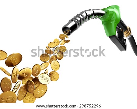 Gasoline pump and gold coin with dollar sign - stock photo