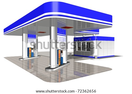 Gasoline station on a white background - stock photo