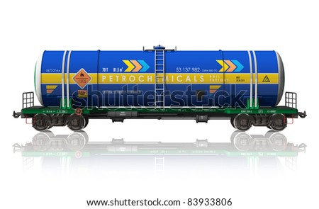 Gasoline tanker railroad car isolated on white reflective background - stock photo
