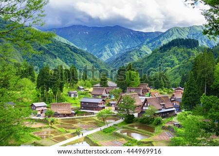 Gassho-zukuri houses in Gokayama Village. Gokayama has been inscribed on the UNESCO World Heritage List due to its traditional Gassho-zukuri houses, alongside nearby Shirakawa-go in Gifu Prefecture. - stock photo
