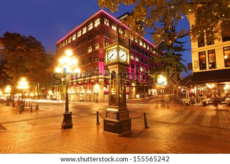 Gastown and the historical steam clock in Vancouver, Canada - stock photo