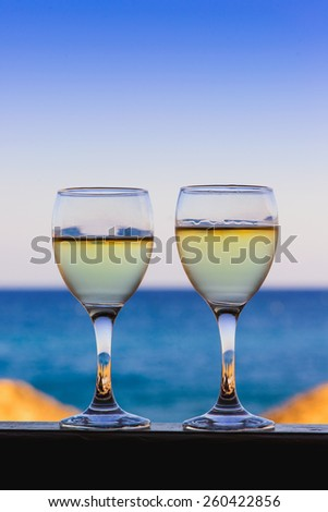 gastronomy in greece - white wine in santorini - stock photo