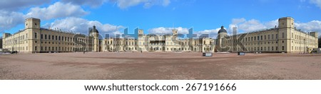 GATCHINA, RUSSIA - MARCH 21, 2015: Big panorama of the southern facade of the Great Gatchina Palace near Saint Petersburg. The palace was built in 1766-1781 by the Italian architect Antonio Rinaldi. - stock photo