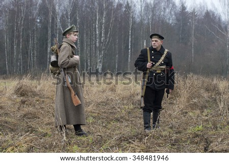 "GATCHINA, RUSSIA - NOVEMBER 07, 2015: Soldiers and sailors of the Civil War in Russia. Participants of the International Military History Festival ""The Civil War in Russia. Northwest, 1919."""