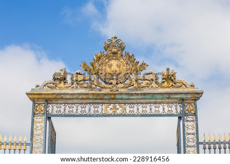 Gate at Chateau Versailles near Paris in France - stock photo