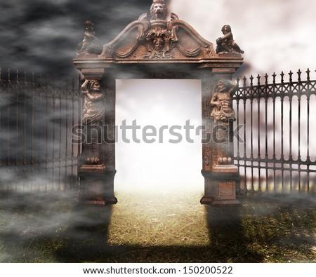 Gate Gothic Fantasy Background - stock photo