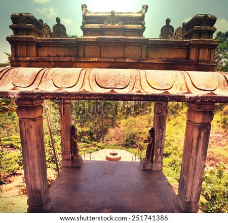 Gate in Hindu temple, Sri Lanka. - stock photo