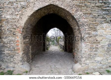 Gate in Hukvaldy castle, Czech Republic - stock photo