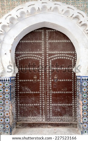 Gate in the old medina of Tetouan in Morocco - stock photo
