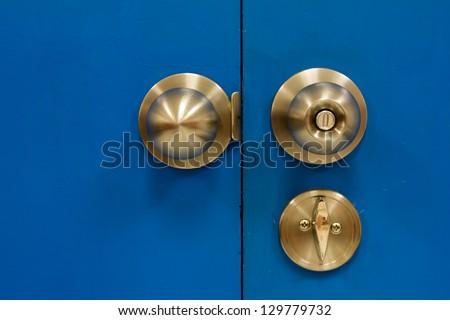 Gate Knob steel lock emergency - stock photo
