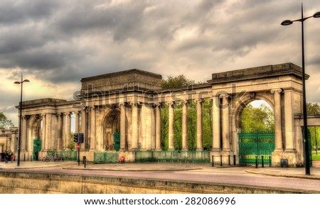 Gate of Hyde Park in London - England - stock photo