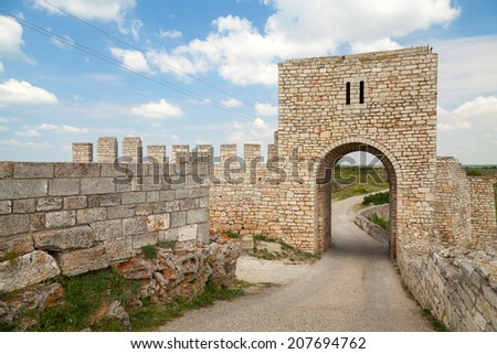 Gate of medieval fortress of Kaliakra, Bulgarian Black Sea Coast - stock photo