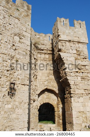 Gate of Saint Paul on the Island of Rhodes, Greece - stock photo
