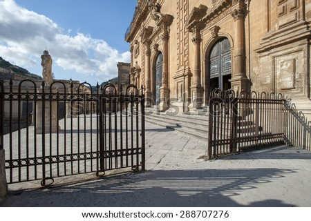 gate of Saint Peter church in the town of Modica, Ragusa, Sicily, Italy - stock photo
