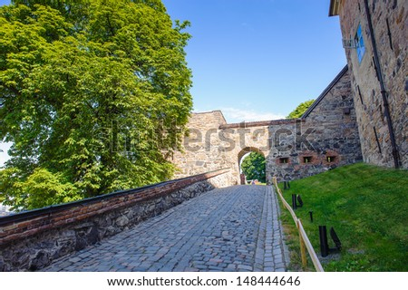 Gate of the Akershus Castle in Oslo, Norway - stock photo
