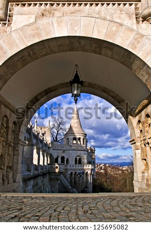 Gate of the Fisherman's Bastion in Buda, Budapest, Hungary