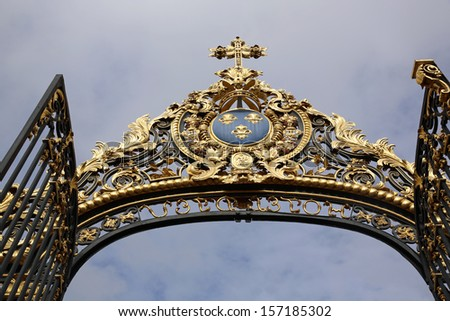 "Gate of the ""hotel dieu"" in the city of Troyes. France"