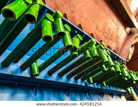 gate pegged or closing between the tanks of bulk materials, the picture closure of the coal reservoir - stock photo