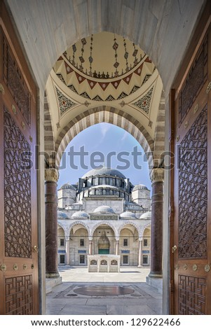 Gate to court yard of Suleymaniye Mosque, Istanbul, Turkey