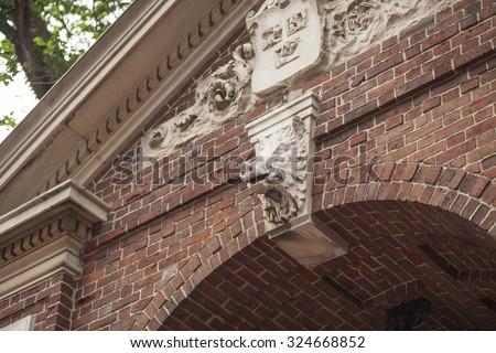 Gate to Harvard Yard, Cambridge, Boston - stock photo