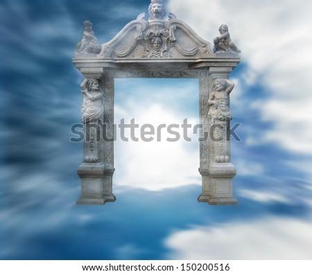 Gate to Heaven Fantasy Background - stock photo