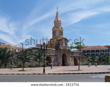 Gate to old city. Fortaleza. Colombia - stock photo