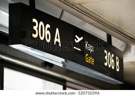 Gates Airport, arrival and departure flight - stock photo