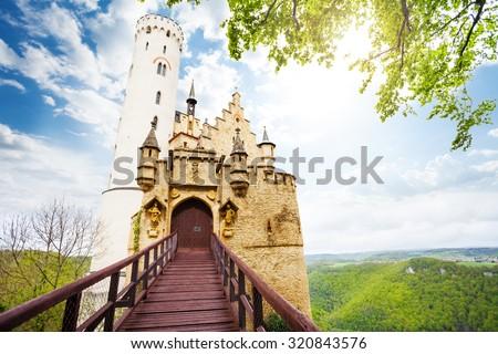 Gates and bridge of the Schloss Lichtenstein  - stock photo