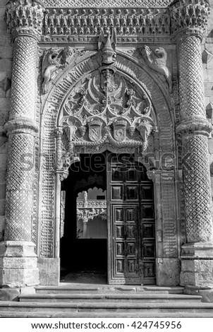 "Gates of palace ""Palacio del infantado"" in Gualadajara, Spain - stock photo"