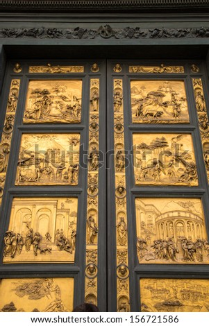 Gates of Paradise with Bible stories on door panels of Duomo