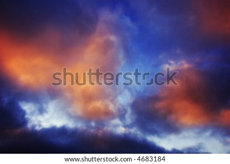 Gates of the sky - Fiery sunset clouds - stock photo