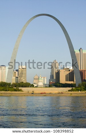 Gateway Arch and skyline of St. Louis, Missouri - stock photo