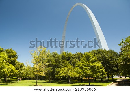 Gateway Arch and trees in the Jefferson Nation, St. Louis - stock photo