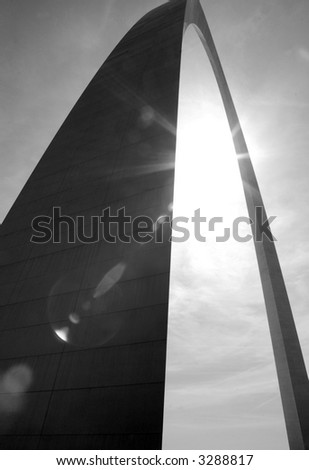 Gateway Arch in St. Louis with Sun Flare - Black & White - stock photo