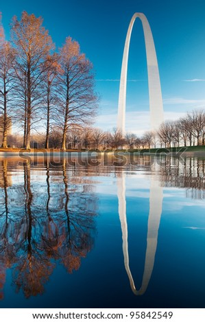 Gateway Arch Reflection at dawn - stock photo