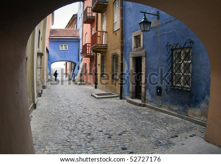 Gateway at Warsaw's old town. - stock photo
