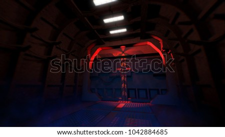 Gateway doors of fallout shelter with emergency light. 3D illustration & Gateway Doors Fallout Shelter Emergency Light Stock Illustration ...