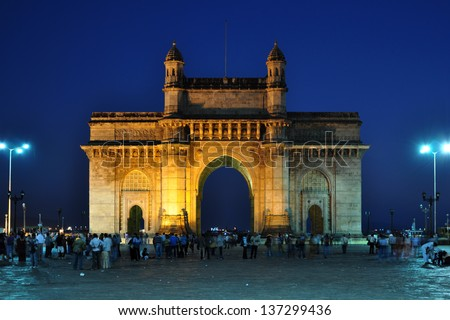 Gateway of India at dusk in Mumbai, India. - stock photo