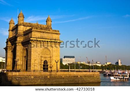 Gateway of India at Sunset in Mumbai. - stock photo