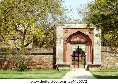 Gateway to Mohammadwali Mosque. Mohammadwali Mosque is located close to Siri Fort in New Delhi. - stock photo