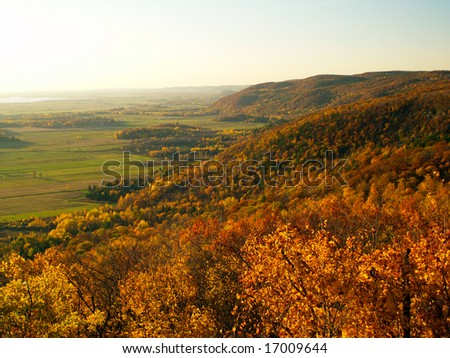 Gatineau plateau and Ottawa river valley in autumn - stock photo