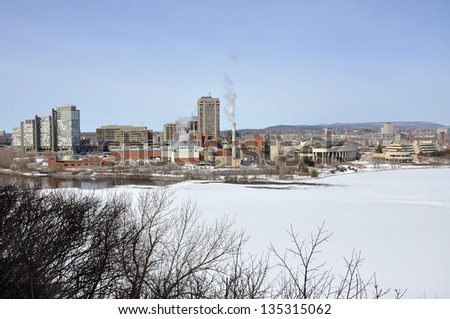 Gatineau skyline in winter, Photo taken from Ottawa Parliament Hill, Ottawa, Ontario, Canada - stock photo