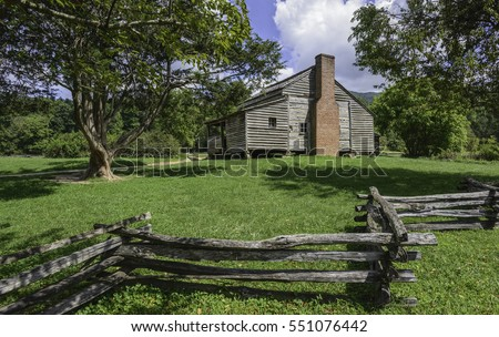 Gatlinburg, Tennessee, USA. Abandoned wooden homestead of settlers in the beautiful Smoky Mountains on a fine summer day near Gatlinburg, Tennessee, USA.